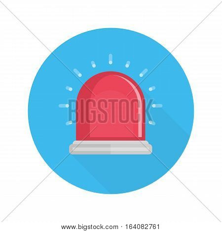 Red siren, flasher or alarm vector icon whit long shadow.