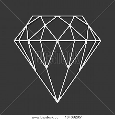 Diamond on a black background. Gemstone sign concept. Vector diamond outline icon, modern minimal flat design style, thin line vector illustration.