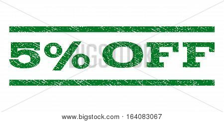 5 Percent Off watermark stamp. Text caption between horizontal parallel lines with grunge design style. Rubber seal green stamp with dirty texture. Vector ink imprint on a white background.
