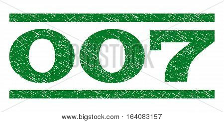 007 watermark stamp. Text caption between horizontal parallel lines with grunge design style. Rubber seal green stamp with dust texture. Vector ink imprint on a white background.