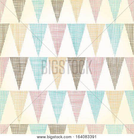 Vector Vintage Bunting Flags Triangles Seamless Pattern Background With fabric Texture. Perfect for nursery, birthday, circus or fair themed designs. Surface pattern design.