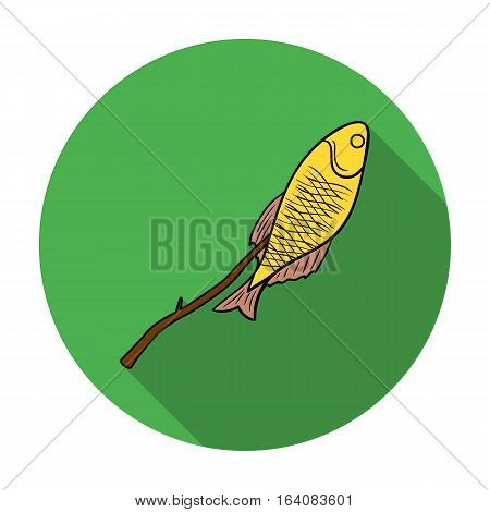 Fried fish icon in flat design isolated on white background. Fishing symbol stock vector illustration.