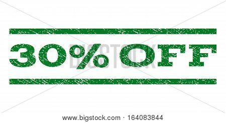 30 Percent Off watermark stamp. Text caption between horizontal parallel lines with grunge design style. Rubber seal green stamp with scratched texture. Vector ink imprint on a white background.