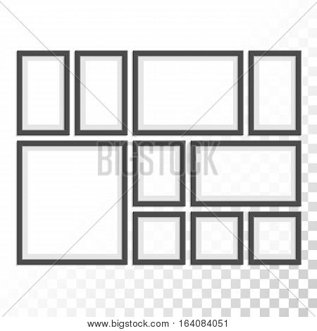 Picture photo frames set with transparent shadow on plaid black white background. Photo art gallery concept. Vintage black frame collection for your design.