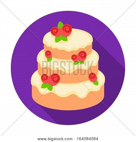 Cake with roses icon in flat design isolated on white background. Cakes symbol stock vector illustration.