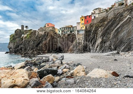 Houses of Vernazza town, built on the rocks of Cinque Terre national park in Italy