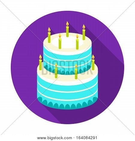 Birthday cake icon in flat design isolated on white background. Cakes symbol stock vector illustration.