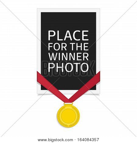 Vector photo frame template with medal of winner. Gold Medal and vintage Photo Frame isolated white background. Concept of an award of the winner.
