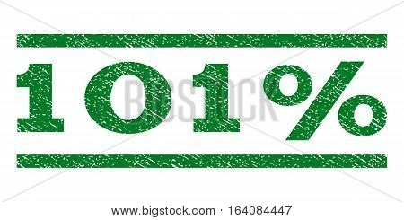 101 Percent watermark stamp. Text tag between horizontal parallel lines with grunge design style. Rubber seal green stamp with dust texture. Vector ink imprint on a white background.