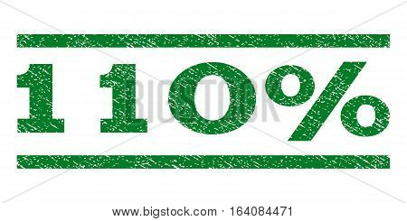 110 Percent watermark stamp. Text tag between horizontal parallel lines with grunge design style. Rubber seal green stamp with dirty texture. Vector ink imprint on a white background.
