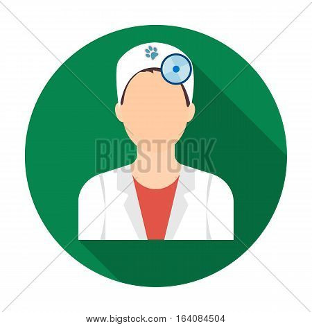 Pet doctor icon in flat design isolated on white background. Veterinary clinic symbol stock vector illustration.