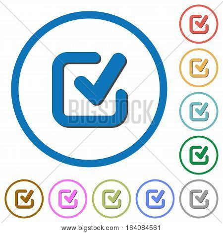 Checkmark flat color vector icons with shadows in round outlines on white background