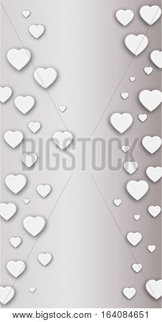 Vector background in gray tones with hearts