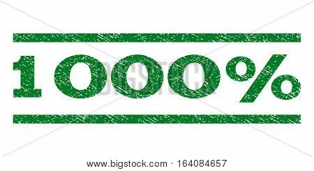 1000 Percent watermark stamp. Text tag between horizontal parallel lines with grunge design style. Rubber seal green stamp with dirty texture. Vector ink imprint on a white background.