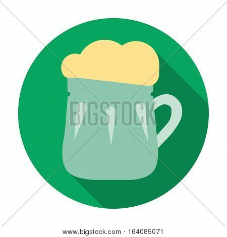 Mug of beer icon in flat design isolated on white background. Pub symbol stock vector illustration.