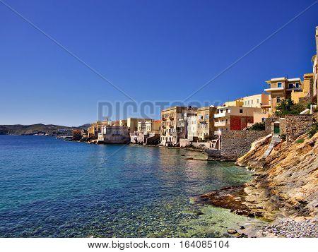 Little Venice on Syros Island Greece. Sunny travel destination poster.