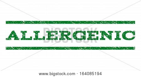 Allergenic watermark stamp. Text caption between horizontal parallel lines with grunge design style. Rubber seal green stamp with unclean texture. Vector ink imprint on a white background.