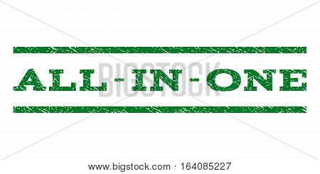 All-In-One watermark stamp. Text tag between horizontal parallel lines with grunge design style. Rubber seal green stamp with dirty texture. Vector ink imprint on a white background.