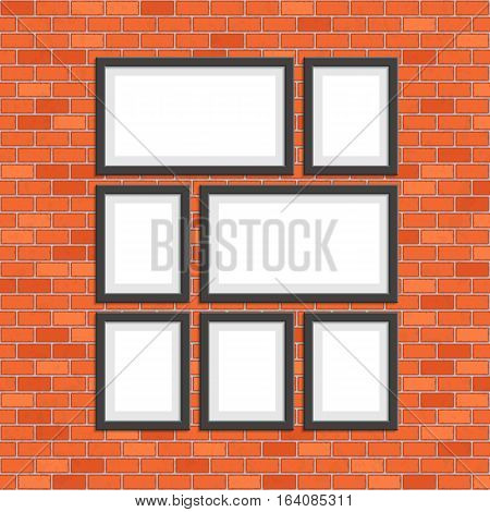 Empty photo frames set on red bricks wall. Realistic Picture Frames different sizes isolated on vintage background. Gallery exhibition interior concept. Modern vector illustration.