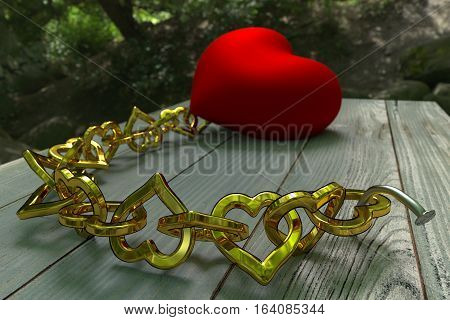 chained heart on planks in the forest, 3d rendering