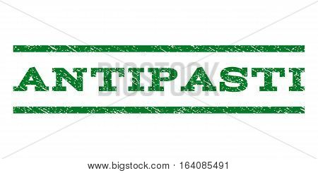 Antipasti watermark stamp. Text caption between horizontal parallel lines with grunge design style. Rubber seal green stamp with unclean texture. Vector ink imprint on a white background.