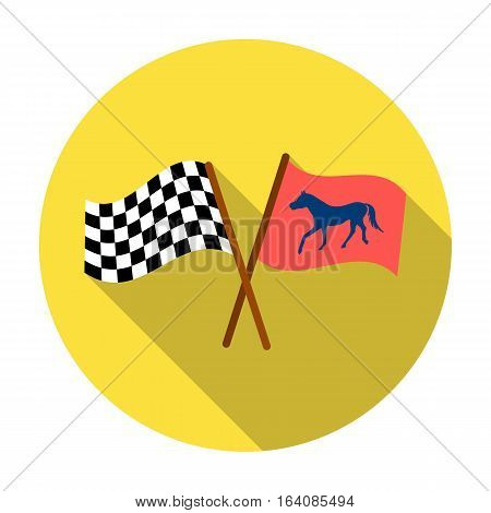 Crossed checkered and equestrian flags icon in flat design isolated on white background. Hippodrome and horse symbol stock vector illustration.