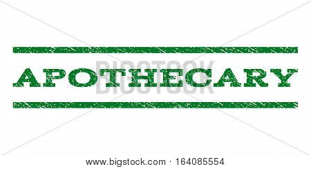 Apothecary watermark stamp. Text tag between horizontal parallel lines with grunge design style. Rubber seal green stamp with unclean texture. Vector ink imprint on a white background.