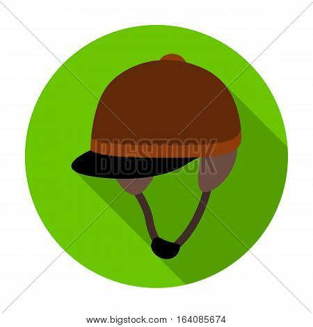 Jockey's helmet icon in flat design isolated on white background. Hippodrome and horse symbol stock vector illustration.