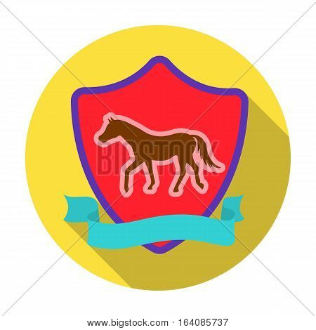 Equestrian blaze icon in flat design isolated on white background. Hippodrome and horse symbol stock vector illustration.