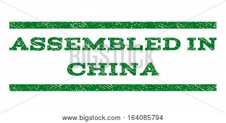 Assembled In China watermark stamp. Text tag between horizontal parallel lines with grunge design style. Rubber seal green stamp with dust texture. Vector ink imprint on a white background.