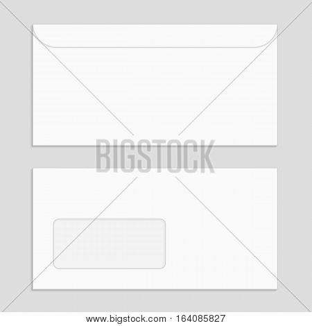 Two blank envelopes isolated on gray background. Realistic Envelope front and back view mockup for your design template.