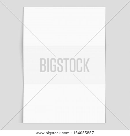 Blank flyer poster. Vector white blank Office Paper mockup isolated on gray background. Folded realistic sheet of paper mock up A4.