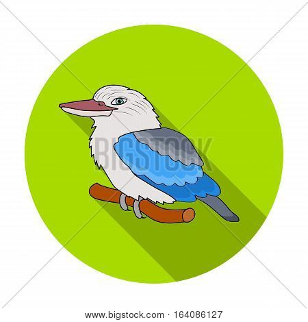 Kookaburra sitting on branch icon in flat design isolated on white background. Australia symbol stock vector illustration.