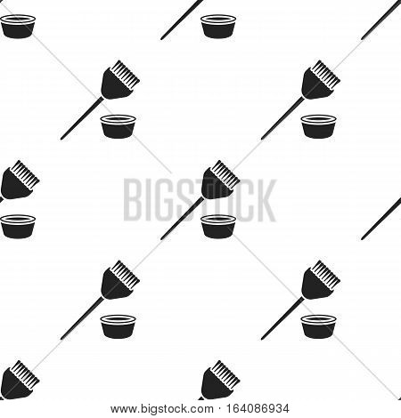 Hair coloring brush icon in black style isolated on white background. Hairdressery pattern vector illustration.
