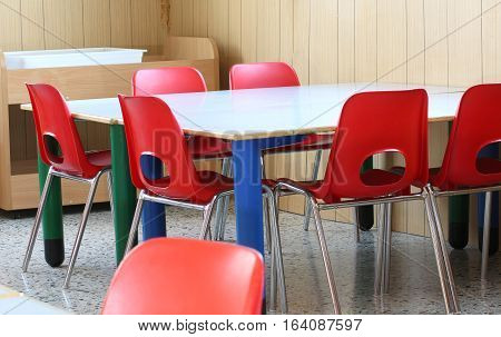 Red Chairs With Small Benches Of A Preschool