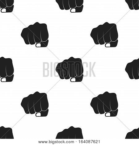 Fist bump icon in black style isolated on white background. Hand gestures pattern vector illustration.