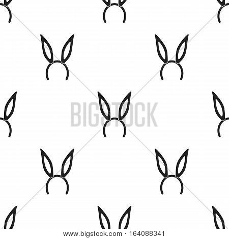 Bunny headband icon in black style isolated on white background. Hats pattern vector illustration.