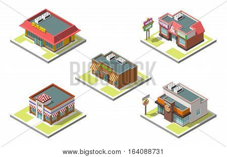 Vector isometric icon set infographic 3d buildings shops, cafe, pizza