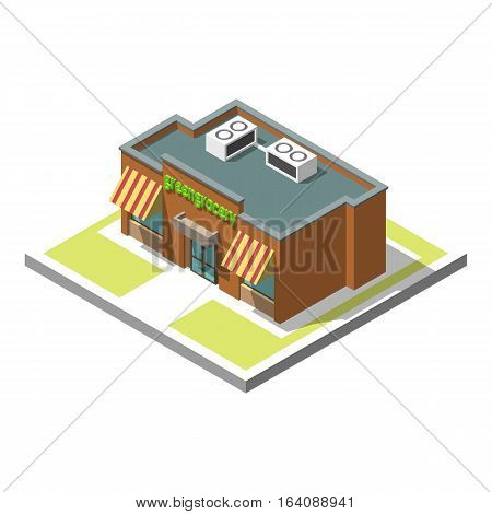Vector isometric icon set infographic 3d building greengrocery