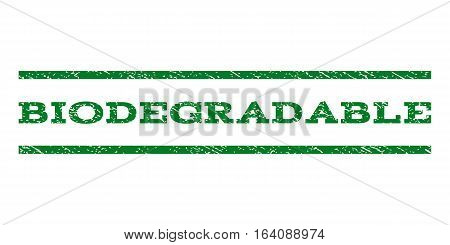 Biodegradable watermark stamp. Text tag between horizontal parallel lines with grunge design style. Rubber seal green stamp with dirty texture. Vector ink imprint on a white background.