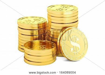 Gold dollar coins 3D rendering isolated on white background