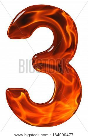3, Three, Numeral From Glass With An Abstract Pattern Of A Flaming Fire, Isolated On White Backgroun