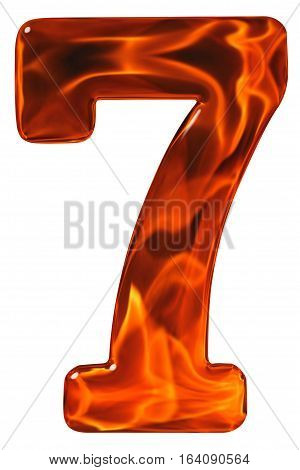 7, Seven, Numeral From Glass With An Abstract Pattern Of A Flaming Fire, Isolated On White Backgroun