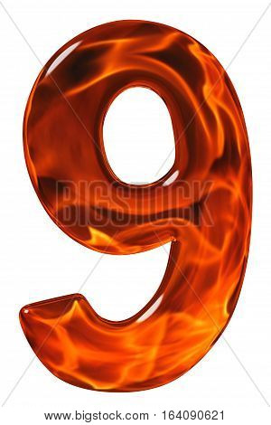 9, Nine, Numeral From Glass With An Abstract Pattern Of A Flaming Fire, Isolated On White Background