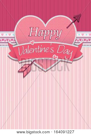 Card cover with message: Happy Valentines Day on a red heart surrounded with pink ribbon on a pink background - Vector image