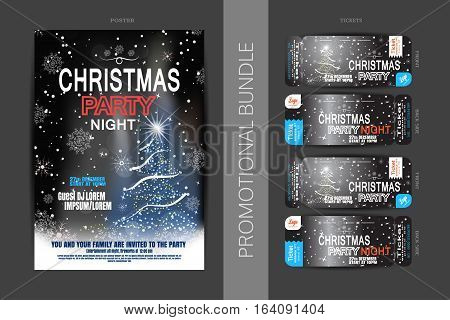 Vector Christmas night party promotional bundle of posters and tickets on the dark gray and blue gradient background with Christmas tree snowflakes pattern and snowfall.