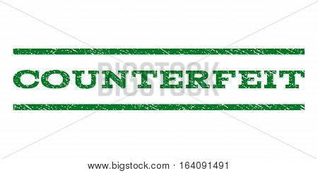 Counterfeit watermark stamp. Text caption between horizontal parallel lines with grunge design style. Rubber seal green stamp with unclean texture. Vector ink imprint on a white background.