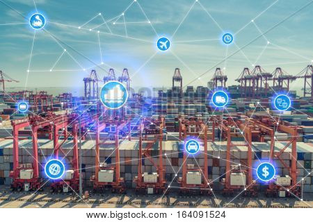 Global business connection technology interface global partner connection of Container Cargo freight ship for logistic import export background. Business logistics concept internet of things