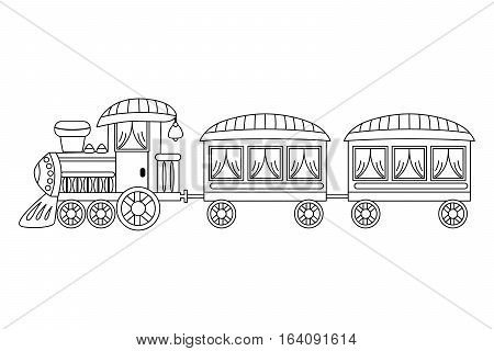 Vector black and white steam train with wagons