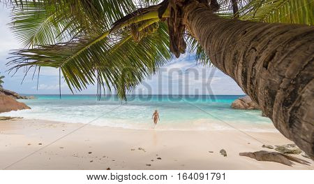 Active sporty woman wearing stylish bikini enjoying swimming at amazing on Anse Patates beach on La Digue Island, Seychelles. Summer vacations on picture perfect tropical beach concept.